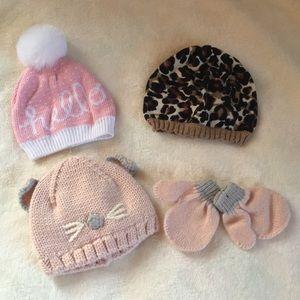 Baby Girl Knit Hat Bundle 0-3 months